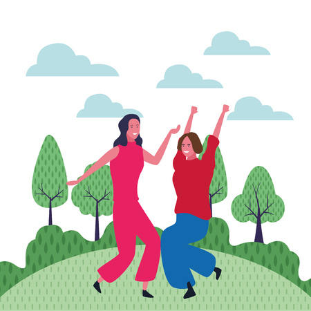 Two women friends dancing and having fun cartoon in park outdoors scenery vector illustration graphic design