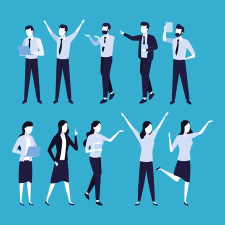 Business coworkers cartoons blue colors background vector illustration graphic design