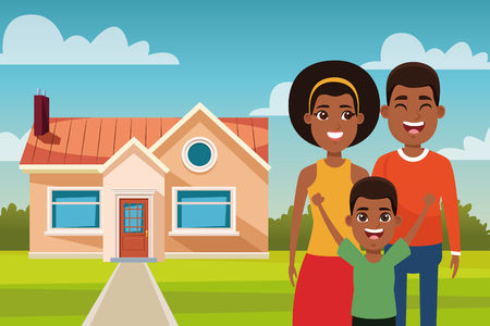 Family afro outdoors from home cartoon vector illustration graphic design