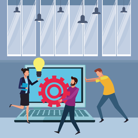 Coworkers teamwork with big idea gears and laptop cartoon inside workplace office vector illustration graphic design