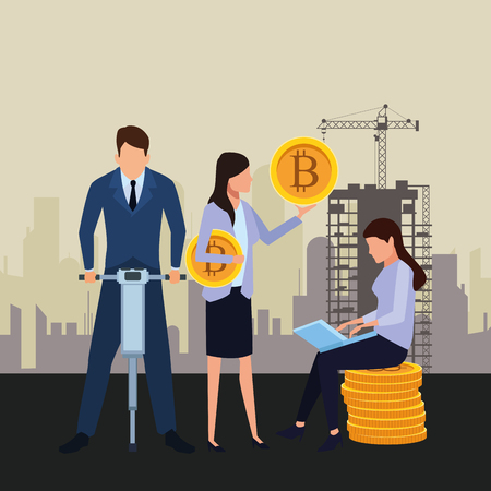 business people holding cryptocurrency bitcoin drill and laptop construction zone vector illustration graphic design