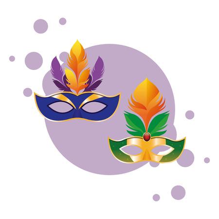 masks with feathers icon cartoon pop art round icon vector illustration graphic design Vektorgrafik