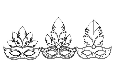 set of masks and feathers icon black and white vector illustration graphic design 스톡 콘텐츠 - 122790664
