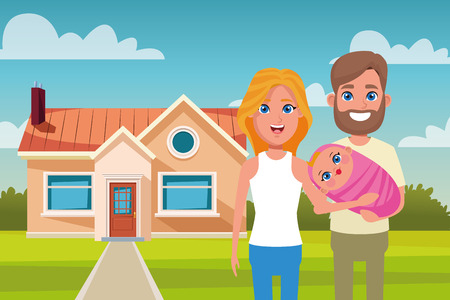 Family wife and husband with baby outdoors from home cartoon vector illustration graphic design Illustration