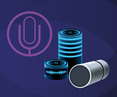 Smartphone voice recognition speaker over purple background vector illustration graphic design Ilustrace