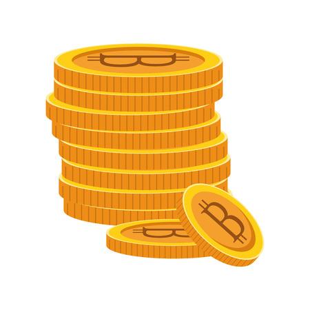 cryptocurrency tower bitcoin cartoon vector illustration graphic design Ilustração