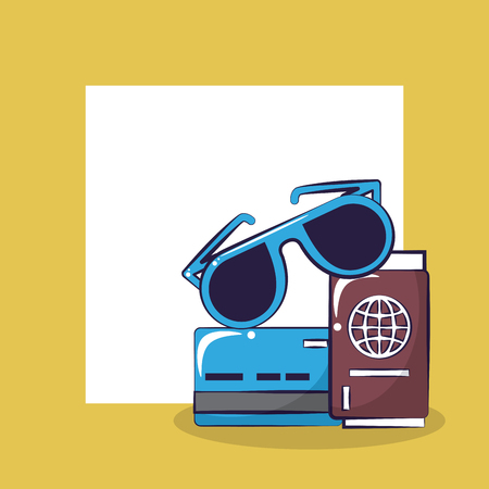 Traveling tourism exciting trip credit card sunglasses passport card squared frame background vector illustration graphic design Çizim