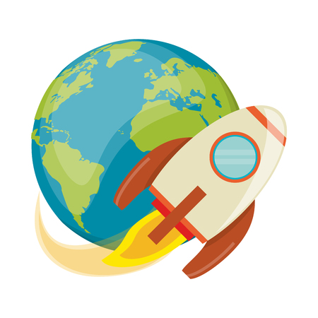Spaceship flying around earth vector illustration graphic design 일러스트