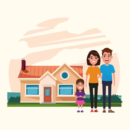 Family parents with daughter outdoors from home cartoon vector illustration graphic design