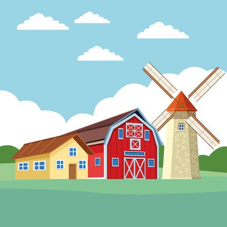 farm barn and windmill icon cartoon rural landscape vector illustration graphic design