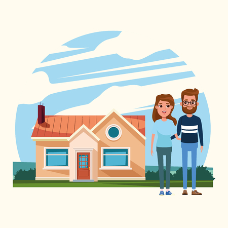 Family wife and husband outdoors from home cartoon vector illustration graphic design