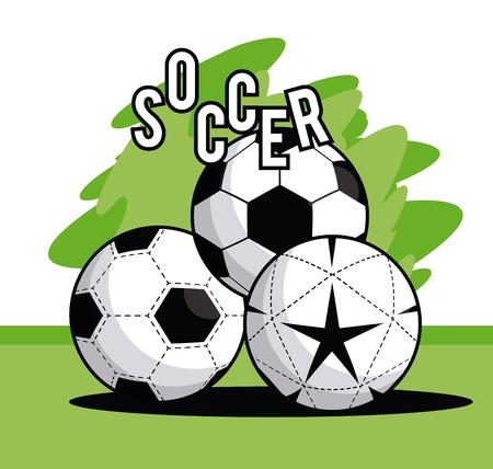 Sports balls equipment football soccer balls vibrant bold letters colorful fitness physical activity card splash frame vector illustration graphic design