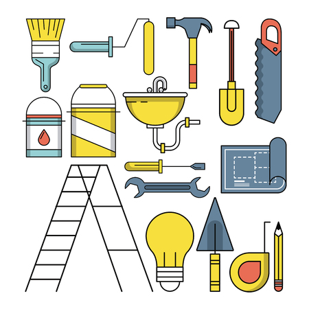 Construction tools and elements cartoons vector illustration graphic design Illustration
