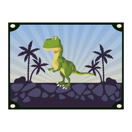 tyrannosaur dinosaur cartoon frame wild nature scenery vector illustration graphic design