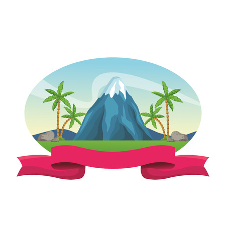 Vulcano at nature scenery blank ribbon banner vector illustration graphic design