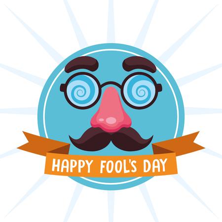 Happy fools day joke cartoon with ribbon banner vector illustration graphic design