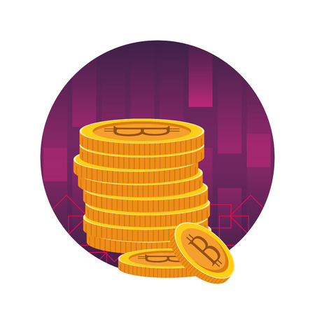 cryptocurrency tower bitcoin cartoon round icon vector illustration graphic design Imagens - 122727976