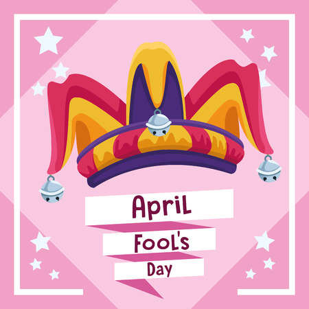 April fools day card with joke cartoo and stars vector illustration graphic design