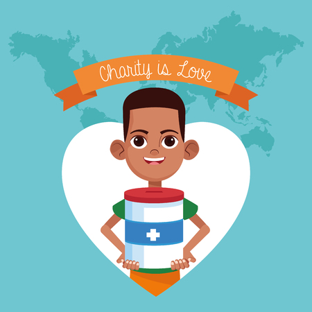 Charity is love ribbon banner world map background with cartoon vector illustration graphic design Illustration
