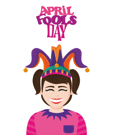 April fools day colorful card with funny cartoons vector illustration graphic design Imagens - 122727990