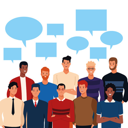 young people with blank speech bubbles cartoon vector illustration graphic design