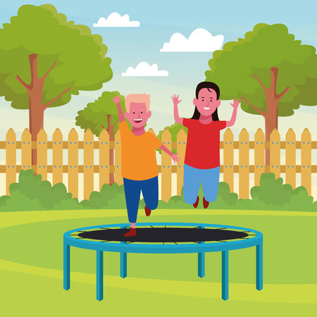 Kids playing with funny games in the park outdoors scenery vector illustration graphicdesign