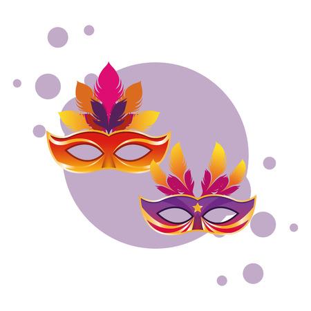 masks with feathers icon cartoon pop art round icon vector illustration graphic design Zdjęcie Seryjne - 122728053