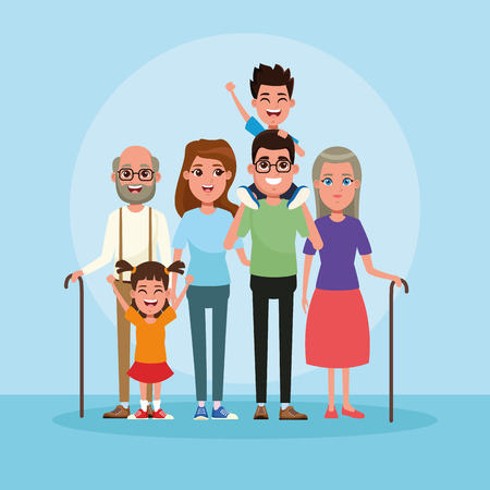 Family with kids cartoon blue background vector illustration graphic design