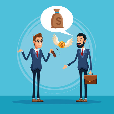 Businessmen talking about business with money bag on speech bubble cartoon vector illustration graphic design