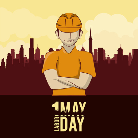 Labor day may eleven card worker over cityscape scenery vector illustration graphic design