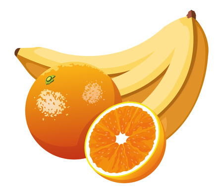 banana and orange icon cartoon vector illustration graphic design