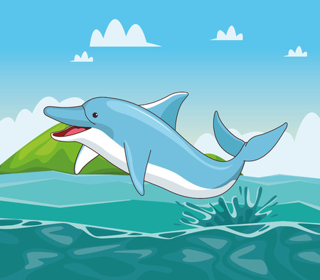 Dolphin in the sea cartoon scenery cartoon vector illustration graphic design  イラスト・ベクター素材