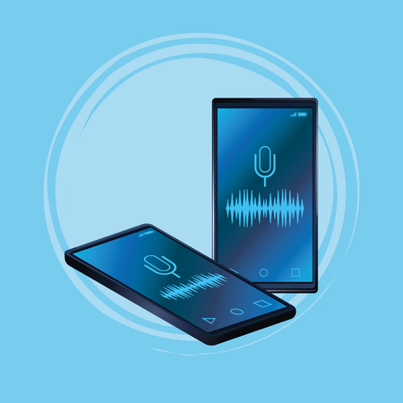 Smartphone voice recognition speaker blue background vector illustration graphic design