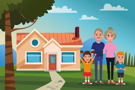 Family grandparents with grandchilds outdoors from home cartoon vector illustration graphic design Ilustrace