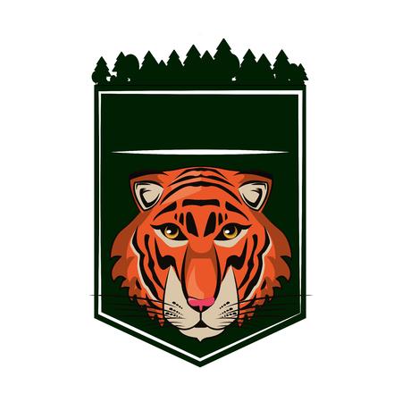 Tiger face cool sketch on forest frame vector illustration graphic design Ilustração