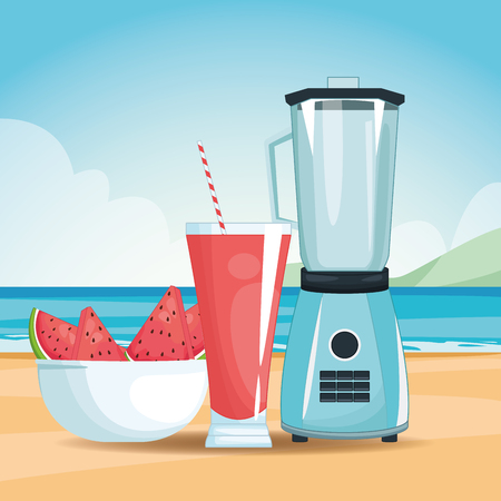 smoothie and mixer with watermelon icon cartoon vector illustration graphic design