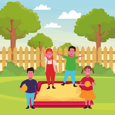 Kids playing with funny playground games in the park outdoors scenery vector illustration graphicdesign