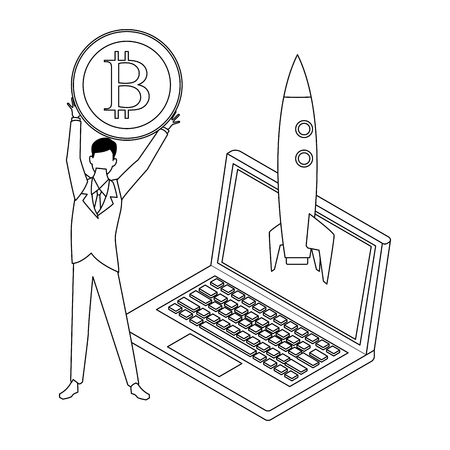 businessman holding cryptocurrency bitcoin with laptop and skyrocket black and white vector illustration graphic design