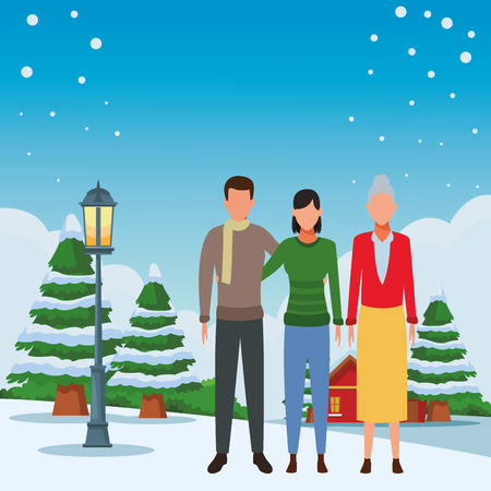 couple and old woman avatar wearing winter clothes snowing town lanscape vector illustration graphic design
