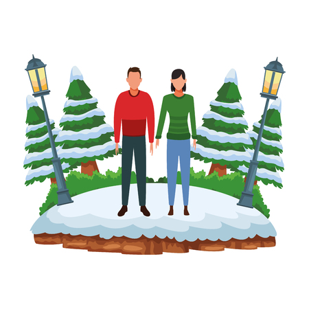 couple wearing winter clothes avatar cartoon character at snowing park vector illustration graphic design Stockfoto - 122728256