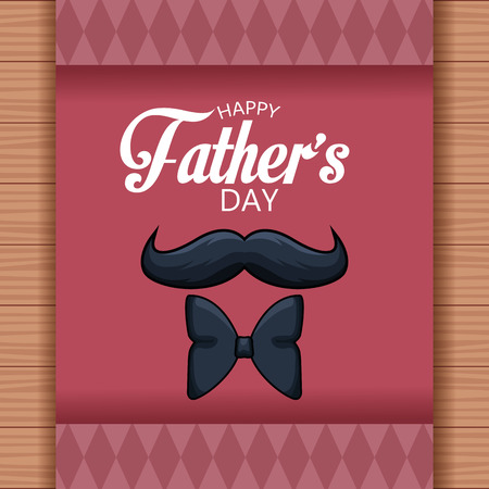 Happy fathers day card with mustache and bow tie over wooden background vector illustration graphic design Фото со стока - 122728274
