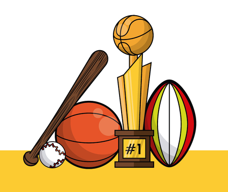 Sports balls equipment baseball bat baseball trophy rugby fitness physical activity collection card vector illustration graphic design
