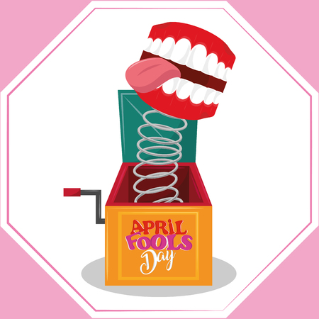 April fools day colorful card with funny cartoons vector illustration graphic design Zdjęcie Seryjne - 122728306