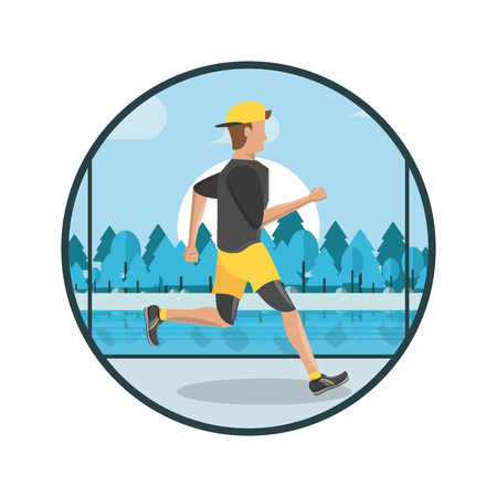 Fitness man running in the park round scenery vector illustration graphic design Çizim