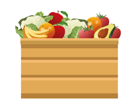 fruit and vegetables crates wooden icon cartoon isolated vector illustration graphic design Banque d'images - 122728312