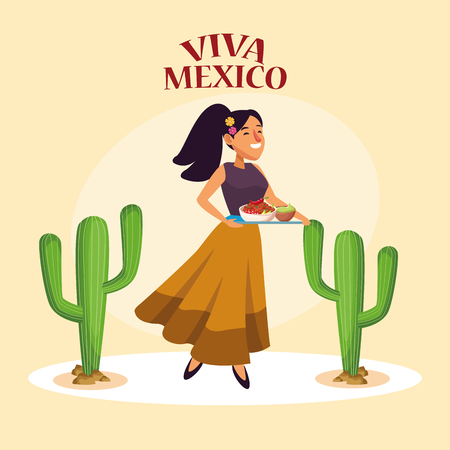 Viva mexico card mexican in desert party cartoons vector digital image illustration