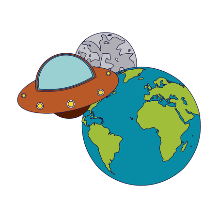 UFO flying aorund earth and moon vector illustration graphic design vector illustration graphic design