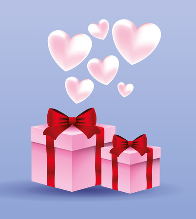 Romantic gift box present with pink hearts vector illustration graphic design