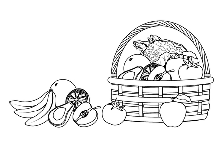 wicker basket with fruit and vegetables cartoon icons black and white vector illustration graphic design