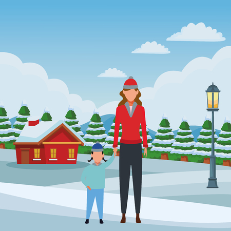 woman with child avatars wearing winter clothes and knitted cap snowing town lanscape vector illustration graphic design